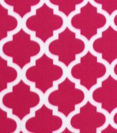Blizzard Fleece Fabric Pink Moroccan Tile