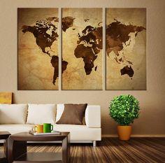 Large vintage world map canvas print large world map wall art art canvas print world map art on vintage background brown 3 panel world map print on canvas framed and streched gumiabroncs Images
