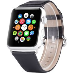 Amazon.com: Apple Watch Band, Boonix Top-grain Luxury Genuine Leather... ($22) ❤ liked on Polyvore featuring jewelry, watches, bamboo jewelry, clasp jewelry, leather watches, metal jewelry and leather jewelry