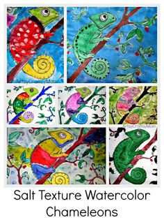 Watch magic enfold in front of you when you make Salt Texture Watercolor - Chameleons - Perfect to go with The Mixed up Chameleon Classroom Art Projects, School Art Projects, Art Classroom, Art Lessons For Kids, Art Lessons Elementary, Cameleon Art, Mixed Up Chameleon, Chameleon Craft, Jungle Art