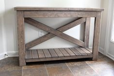 Handcrafted Wood Rustic Console Table Modern Farmhouse - My CMS Western Furniture, Rustic Furniture, Antique Furniture, Outdoor Furniture, Luxury Furniture, Handmade Furniture, Diy Wood Projects, Furniture Projects, Diy Furniture Plans