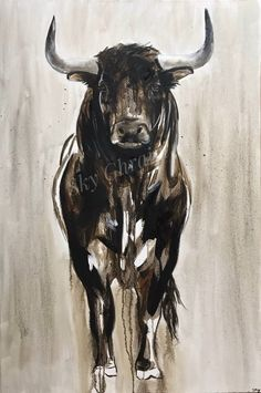 Bull Painting, Painting & Drawing, Watercolor Paintings, Bull Tattoos, Taurus Tattoos, Cow Drawing, Cow Art, Impressionist Paintings, Drawing Techniques