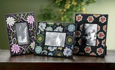 Kindwer 3 Piece Flower Beaded Perfection Picture Frame Set