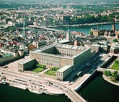 Arial view of The Royal Palace, Stockholm, Sweden
