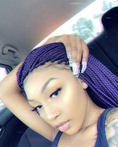 Teen Girl Hairstyles, Weave Hairstyles, Cute Hairstyles, Doll Hairstyles, Hairdos, Black Girl Braids, Girls Braids, Purple Braids, Beauty Vitamins