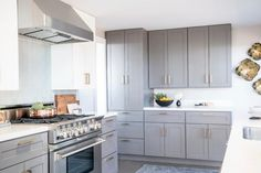 Looking for Gray Contemporary Kitchen ideas? Browse Gray Contemporary Kitchen images for decor, layout, furniture, and storage inspiration from HGTV. Grey Kitchen Island, All White Kitchen, Grey Kitchen Cabinets, Big Kitchen, Family Kitchen, Kitchen Design, Kitchen Ideas, Kitchen Images, Pantry Ideas