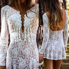 Sexy Plunging Neck White Lace Open Back Long Sleeve Dress For Women