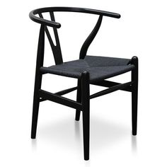 Elevate your dining space with the timeless Wishbone Cord Dining Chair – Full Black. This dining chair, inspired by the classic Hans Wegner design, has . Black Dining Chairs, Wooden Dining Chairs, Dining Decor, Dining Room, Dining Table, Black Rope, Mid Century Furniture, Chair Design, Chairs