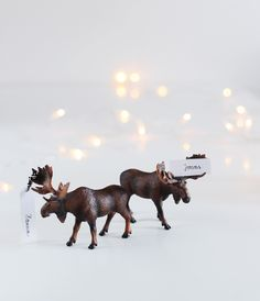 winter animal figurines as place cards