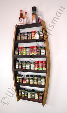 I finally found a perfect spice rack! Can't wait to get it. Wine Barrel Spice Rack made with recycled Napa wine barrels by winecountrycraftsman.