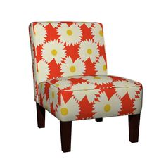 Maran Slipper Chair featuring OX EYE DAISY by clairecoloursme | Roostery Home Decor