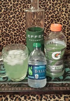 Best summertime drink!!!!  Effin Cucumber Vodka Gatorade Lime Cucumber Limon Pepino Little Water Over Ice  Also: Effin Cucumber Vodka as a Chilton (club soda and half of a lemon) or a Bloody Mary! Yum! Enjoy!