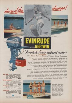"1953 EVINRUDE ""BIG TWIN"" 25 HP, GEARSHIFT, ""CRUIS-A-DAY TANK"" OUTBOARD MOTOR AD"