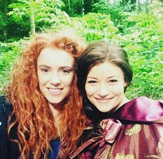 Merida and Belle on the set of Once Upon a Time