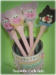 Kids Crafts, Pig Party, Wooden Spoons, Craft Activities, Puppets, Mini, Fairy Tales, Nursery Rhymes, Finger