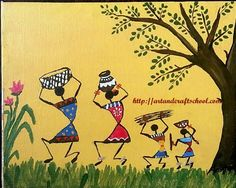 Simple Warli paintings - Art from my heart Madhubani Art, Madhubani Painting, Art Sketches, Art Drawings, Worli Painting, Bottle Painting, Kunst Der Aborigines, Indian Art Paintings, Simple Paintings