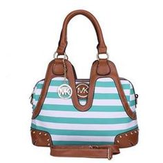 Welcome To Our Michael Kors Striped Logo Stud Medium Blue Satchels Online Store/67$ spring YUP!!