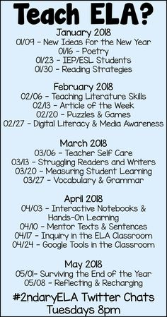 Interested in current English Language Arts professional development for teachers? Join us for our weekly Twitter chats or click to read the chat recaps.