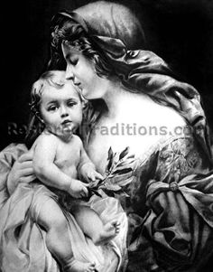 Religious Art Illustration of Madonna and Child