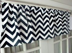 Navy chevron by GallaryVerde Navy Chevron, Navy Blue, Blue And White, Chevron Valance, Valance Curtains, Custom Valances, Etsy Fabric, Window Sizes, Nautical Bathrooms