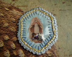 catholic, detente   vintage blue cocheted scapular with relic virgin mary 12 00 usd ...