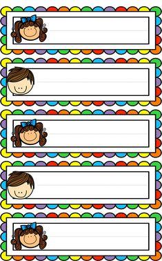 Badges for Kindergarten Children - Preschool Children Akctivitiys Classroom Labels, Classroom Rules, Classroom Themes, Classroom Organization, Classroom Job Chart, School Border, Kindergarten, School Frame, School Labels
