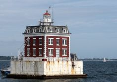 Ledge Lighthouse in New London is a  unique lighthouse and an architectural landmark. A local foundation has leased the lighthouse from the Coast Guard and works for its restoration; plans are for the building to be renovated as a guest house and museum.  Built in 1909 and still active.