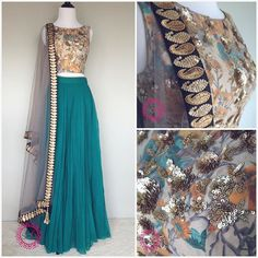Fall florals available at Studio East6. Love the mix of grey, green, & gold on this Studio East6 lehenga!
