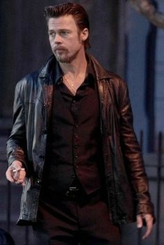 Brad Pitt Killing Them Softly Jacket For Sale At ukleatherfactory.com Casual Fashion: For Men - Brad Pitt Is Looking Best Fashion Combination + Leather Jacket. #MenFashion #BradPittLeatherJacket #LeatherJacket