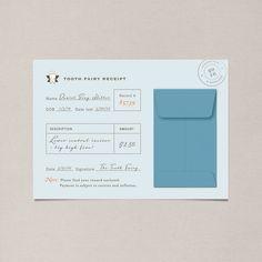 Tooth Fairy Receipts - Set of 10. $16.00, via Etsy.