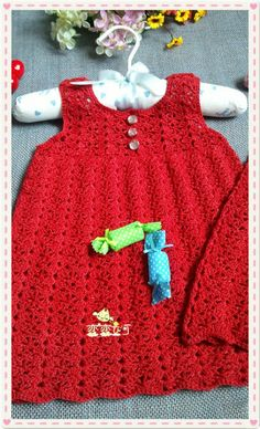 Crochet red girls dress ♥LCK-MRS♥ with diagrams, click on the diagrams to view.