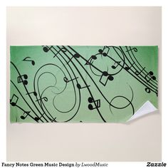 Fancy Notes Green Music Design Beach Towel