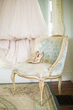 Soft blue velvet French chair