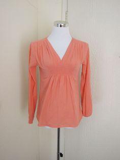 Michael Kors size XS light orange gauzy cotton long sleeve tunic top
