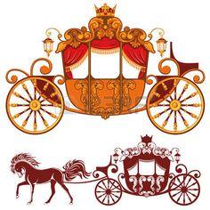 principessa vintage: Due carrozza reale. Immagine dettagliata e silhouette…