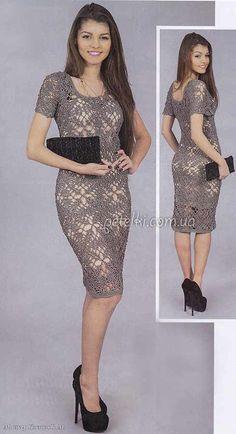 Кружевное платье из мотивов. Описание вязания, схема, выкройка