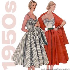 "1950s Vintage Sewing Pattern: 38"" Bust Boned Sweetheart Dress. Simplic – WeSewRetro"