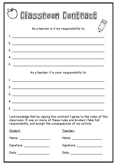 student teacher contract template - 1000 images about learning contracts on pinterest