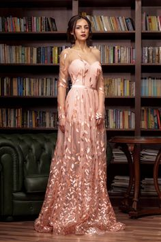 Tulle long formal dress eveing prom cocktail dress in pink color elegant couture long dress great as backless bridesmaid sleeves gown. Lovely Dresses, Trendy Dresses, Elegant Dresses, Amazing Dresses, Beautiful Gowns, Cocktail Dress Prom, Elegant Cocktail Dress, Gowns With Sleeves, Formal Gowns