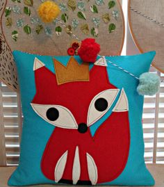 King Fox Pillow by Maureen Cracknell