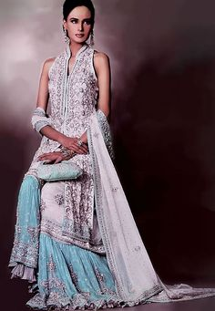 BW6780 White Smoke & Cornflower Blue Gharara Bridal Gharara, Bollywood Designer Gharara, Pakistani Designer Boutique, Wedding Gharara India Pak Bridal Wear
