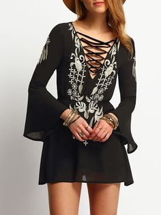 Black Flare Sleeve Embroidery Lace Up Dress
