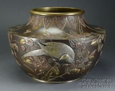 Japanese Bronze & Mixed Metal Vase, Pheasant, Flowers & Bee, Meiji Period