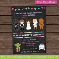 Girl Star Wars Birthday Invitation  NO PHYSICAL ITEMS WILL BE SHIPPED  - What you will receive • 5 x 7 Digital JPEG Front Design • 8.5x11 pdf with