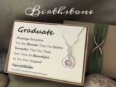 Graduate Graduation Gifts For Her Sterling Silver Birthstone Necklace High School Graduation Gift Class