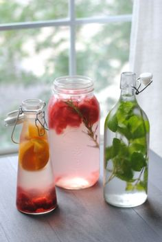 3 Flavored Water Recipes: 1) Raspberry Orange, 2) Rose Mint, & 3) Watermelon Rosemary