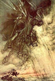 It was widely believed that the norse god odin or woden chased across the sky on stormy winter nights with a pack of baying hounds at his horses heels. Any one who saw the hunt might be carried off to a distant land while to speak with the huntsman was certain death