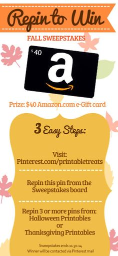 Repin to Win Fall 2014 Pinterest Sweepstakes - Win a $40 Amazon.com e-Gift card!
