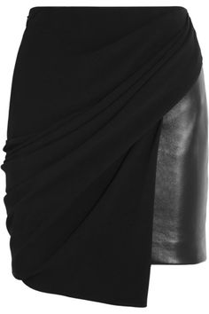 Asymmetric crepe-jersey and leather skirt by Alexander Wang