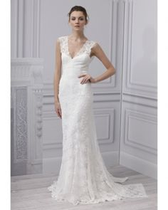 Beautiful lace sheath wedding dress.